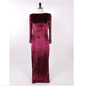 Hanae Mori Vintage Crushed Velvet Evening Gown